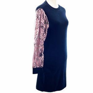 INC International Printed Sheer-Sleeve Tunic M